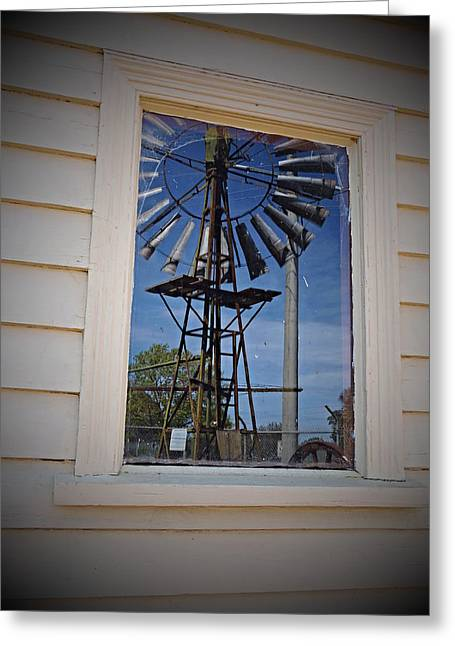 Windmill Reflections Greeting Card by Katrina Dimond