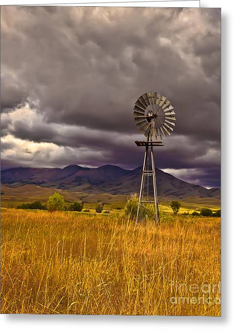 Haybales Photographs Greeting Cards - Windmill Greeting Card by Robert Bales