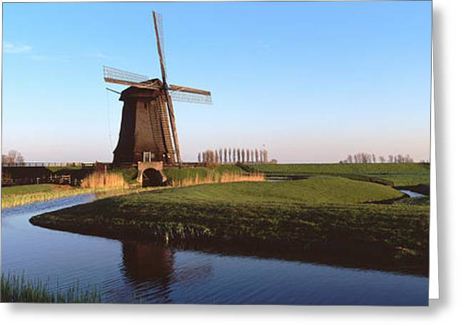 Cultivation Greeting Cards - Windmill, Schermerhorn, Netherlands Greeting Card by Panoramic Images