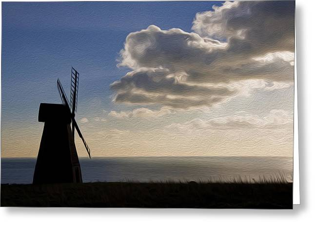 White Smock Greeting Cards - Windmill silhouette blowing away dark clouds to reveal sun burst digital painting Greeting Card by Matthew Gibson