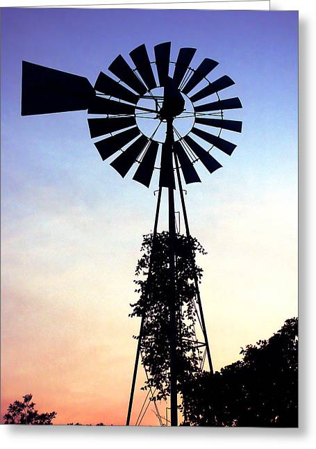 Aermotor Greeting Cards - Windmill Silhouette Greeting Card by Marilyn Hunt