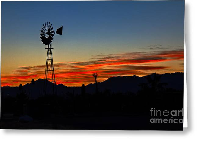 Windmill Silhouette Greeting Card by Robert Bales