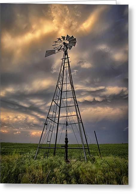 Nimbus Greeting Cards - Windmill Storm Greeting Card by Thomas Zimmerman