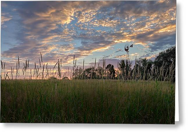 Farming Greeting Cards - Windmill Sunset Greeting Card by Bill  Wakeley