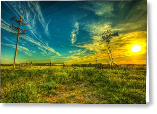 Hdr Landscape Photographs Greeting Cards - Windmill sunset Greeting Card by  Caleb McGinn