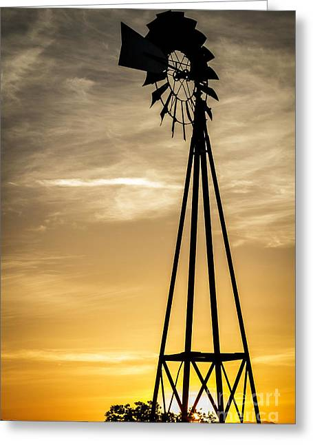 Windmill Sunset Greeting Card by Mitch Shindelbower