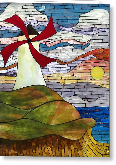 Ocean Landscape Glass Art Greeting Cards - Windmill Greeting Card by Suzanne Tremblay