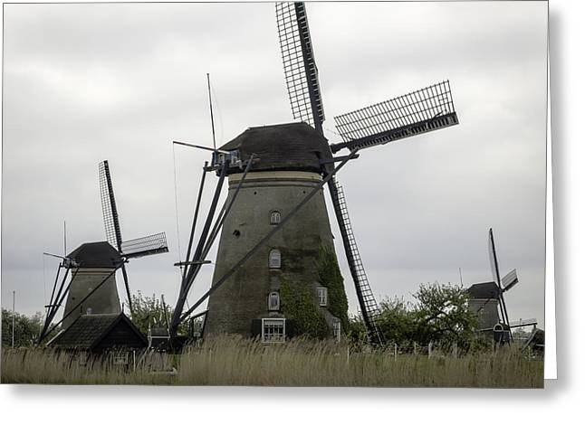 Boat Cruise Greeting Cards - Windmill Tail Poles Squared Greeting Card by Teresa Mucha