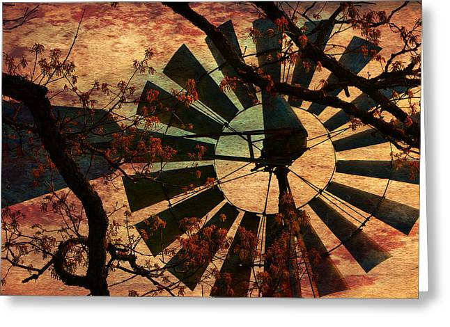 Industrial Background Greeting Cards - Windmill Through The Oak Greeting Card by Deena Stoddard