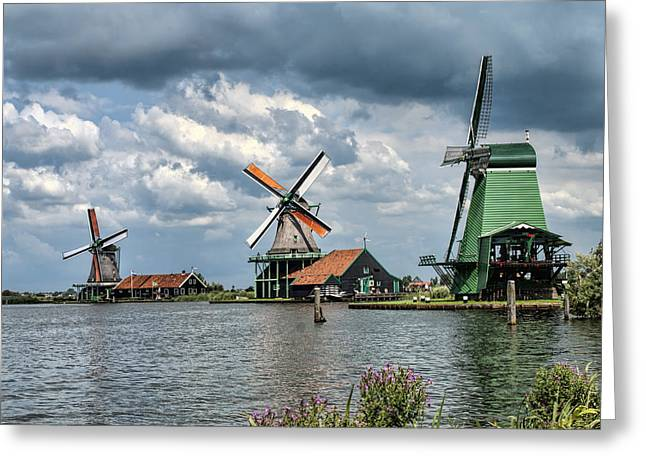 Zaanse Schans Greeting Cards - Windmill Trio Greeting Card by Phyllis Taylor