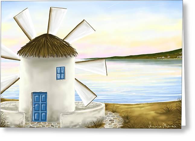 Mills Greeting Cards - Windmill Greeting Card by Veronica Minozzi