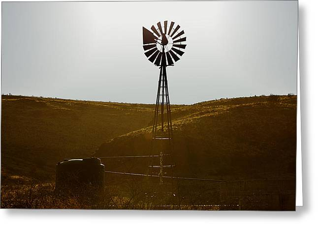 Energy Greeting Cards - Windmill Water Pump Texas Greeting Card by Christine Till