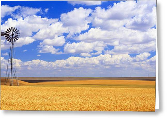 Wind Vane Greeting Cards - Windmill Wheat Field, Othello Greeting Card by Panoramic Images