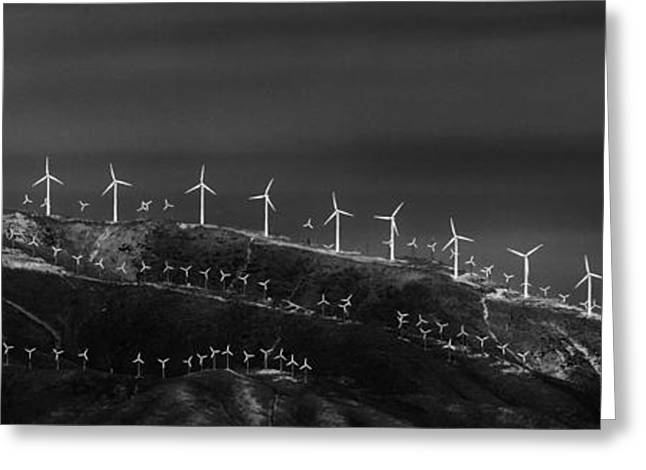 Mountain Road Greeting Cards - Windmills 1 Greeting Card by Niels Nielsen