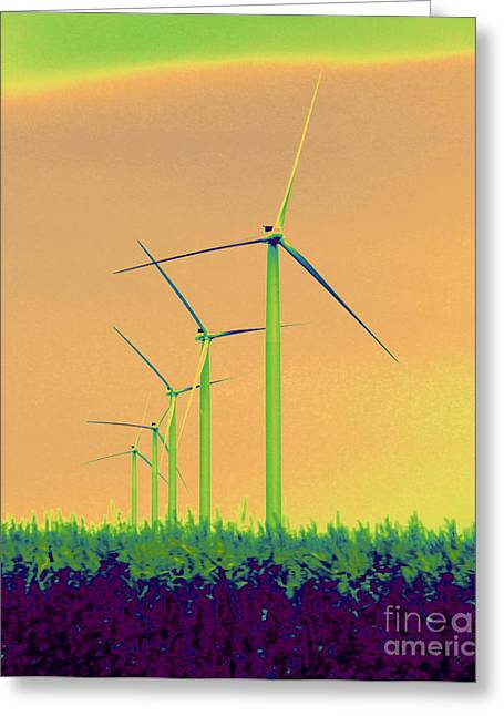 Inversion Greeting Cards - Windmills 4 Greeting Card by A K Dayton