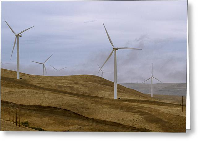 Generators Greeting Cards - Windmills and Fog Greeting Card by Jean Noren