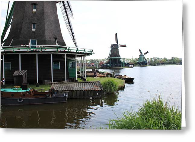 Zaans Greeting Cards - Windmills at river Zaan Greeting Card by Jan Bronkhorst
