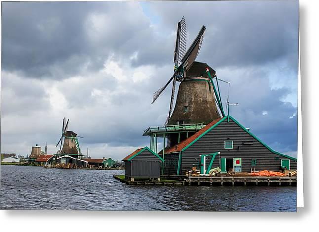 Zaandijk Greeting Cards - Windmills at Zaanse Schans Greeting Card by Jenny Hudson