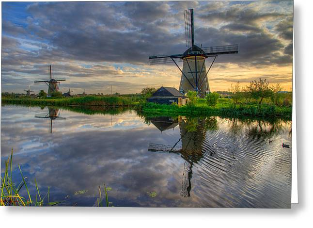 Netherlands Greeting Cards - Windmills Greeting Card by Chad Dutson