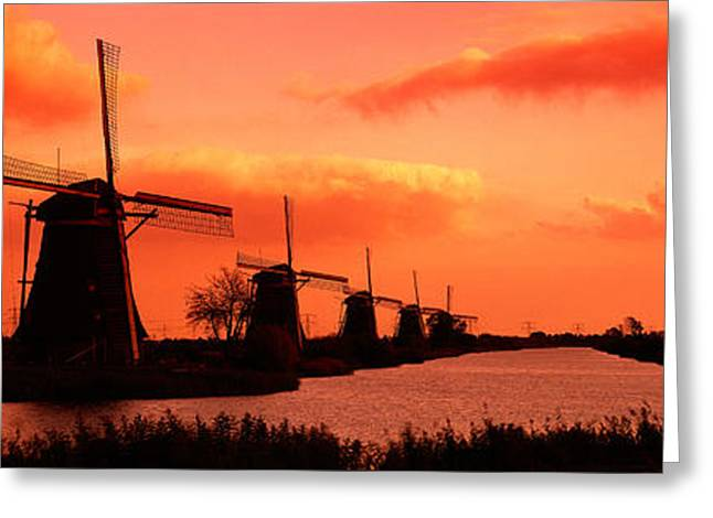 Windmills Holland Netherlands Greeting Card by Panoramic Images