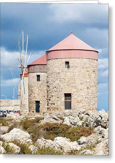 Mandraki Greeting Cards - Windmills in Rhodes Greeting Card by Brigida Soriano