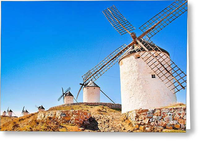 Castile La Mancha Greeting Cards - Windmills in Spain Greeting Card by JR Photography