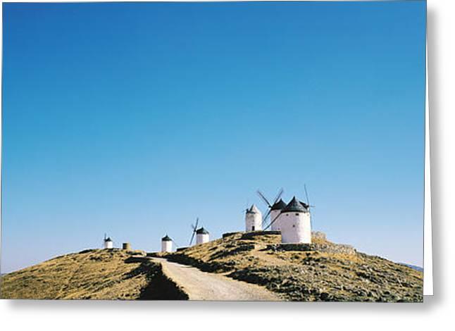 Mancha Greeting Cards - Windmills La Mancha Consuegra Spain Greeting Card by Panoramic Images