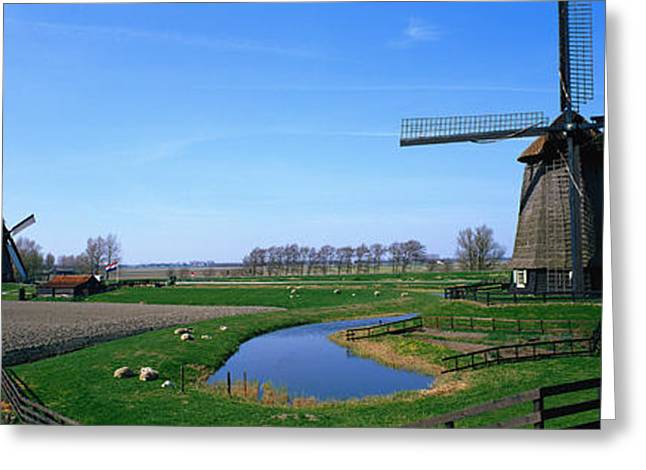 Cultivation Greeting Cards - Windmills Near Alkmaar Holland Greeting Card by Panoramic Images