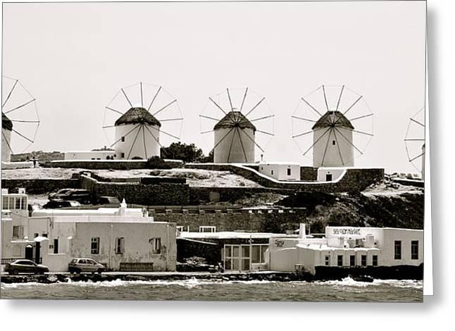 Windmills Of Mykonos Greeting Card by Corinne Rhode