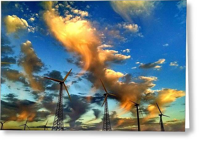 Verga Greeting Cards - Windmills of Palm Springs Greeting Card by Chris Tarpening