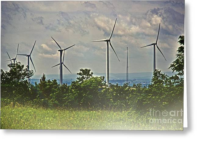 Power Plants Greeting Cards - Windmills Of The Laurel Highlands Greeting Card by Tom Gari Gallery-Three-Photography