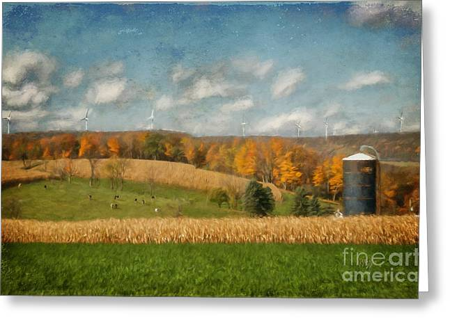 Cornfield Digital Art Greeting Cards - Windmills On The Horizon Greeting Card by Lois Bryan