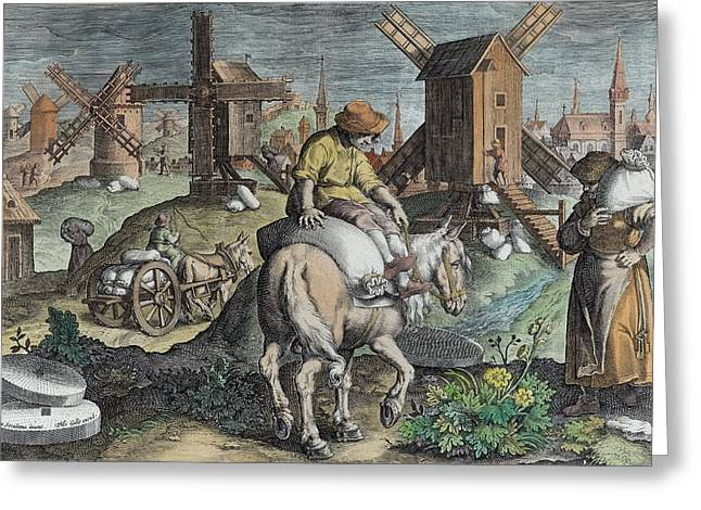 Farmer Drawings Greeting Cards - Windmills, Plate 12 From Nova Reperta Greeting Card by Jan van der Straet