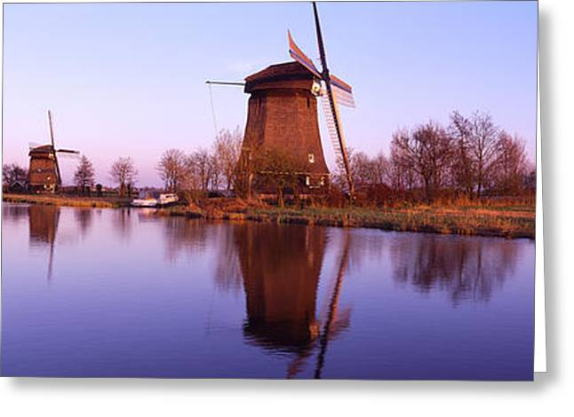 Colorful Photography Greeting Cards - Windmills Schemerhorn The Netherlands Greeting Card by Panoramic Images