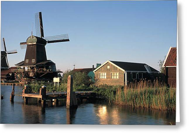 Zaanse Schans Greeting Cards - Windmills Zaanstreek Netherlands Greeting Card by Panoramic Images