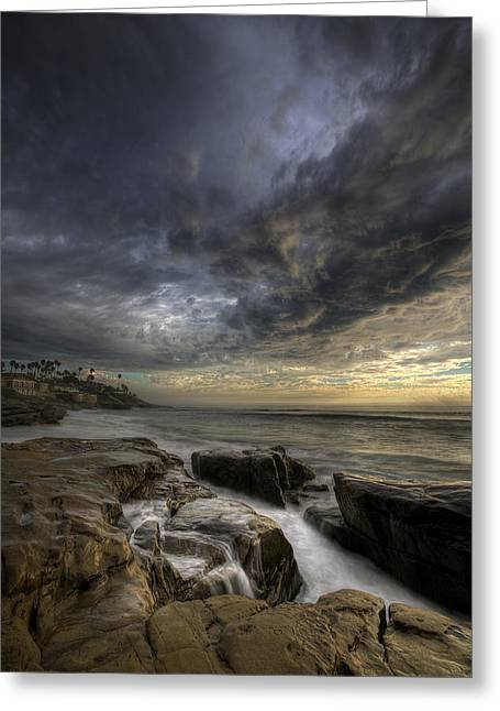 Storm Clouds Greeting Cards - WindNSea Light Found Greeting Card by Peter Tellone