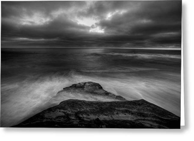 California Beaches Greeting Cards - WindNsea Point BW Greeting Card by Peter Tellone