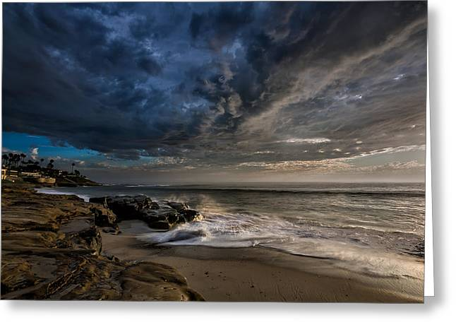 Tide Pools Greeting Cards - WindNSea Stormy Greeting Card by Peter Tellone