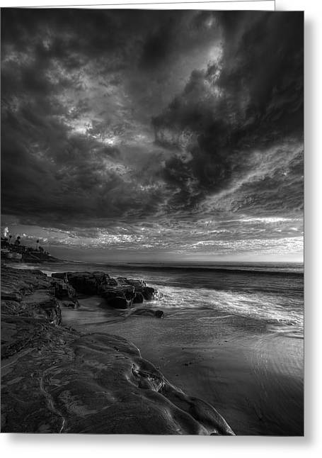 Tide Pools Greeting Cards - WindNSea Stormy Sky BW Greeting Card by Peter Tellone