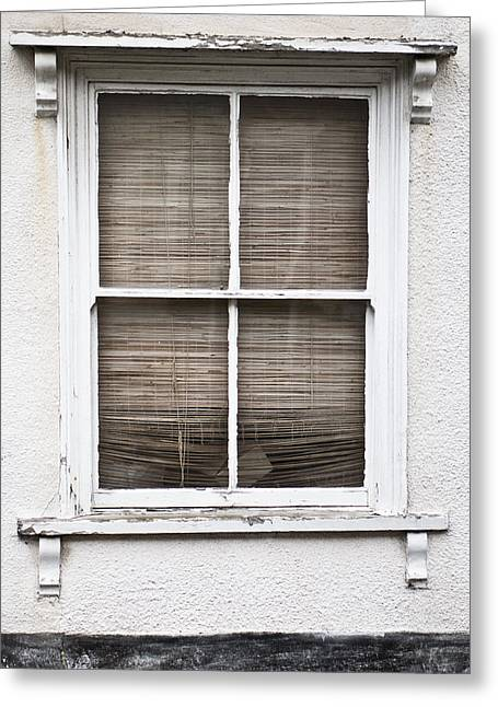 Bamboo House Photographs Greeting Cards - Window and blind Greeting Card by Tom Gowanlock