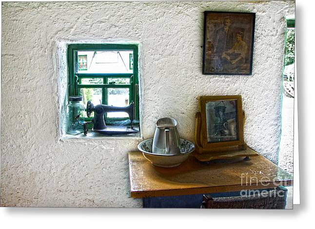 Old Pitcher Greeting Cards - Window and little dressing table In An Old Thatched Cottage Greeting Card by RicardMN Photography