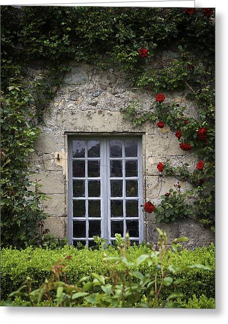 Chateau Greeting Cards - Window and Roses at the Chateau Greeting Card by Colleen Williams