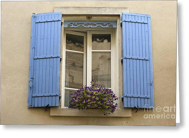 Saint-remy De Provence Greeting Cards - Window And Shutters Greeting Card by John Shaw