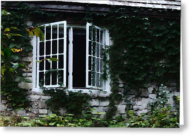 Cabin Window Digital Art Greeting Cards - Window at The Clearing 2 Greeting Card by David Blank