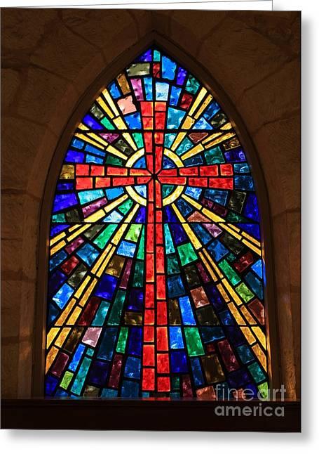 La Villita Greeting Cards - Window at the Little Church in La Villita Greeting Card by Carol Groenen