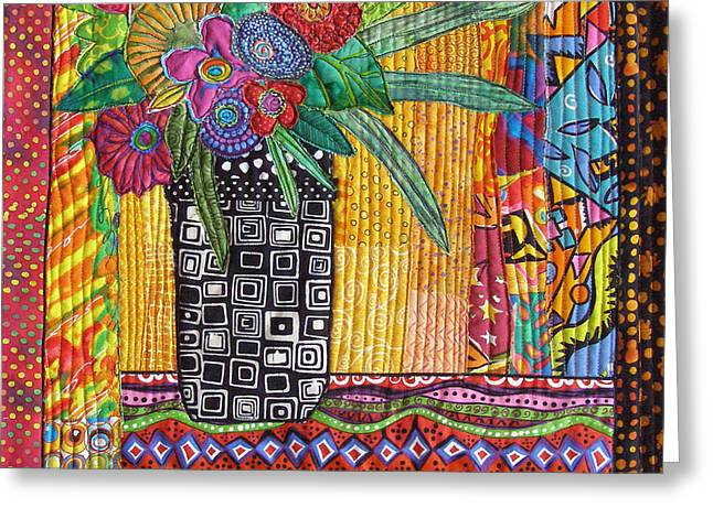 Flower Still Life Tapestries - Textiles Greeting Cards - Window Bouquet Greeting Card by Susan Rienzo