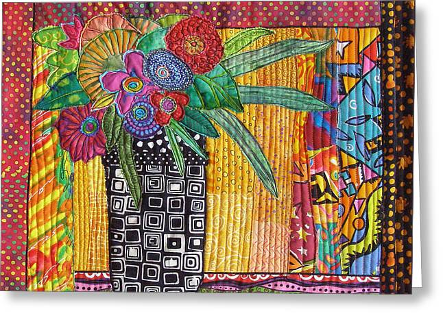 Window Of Life Tapestries - Textiles Greeting Cards - Window Bouquet Greeting Card by Susan Rienzo