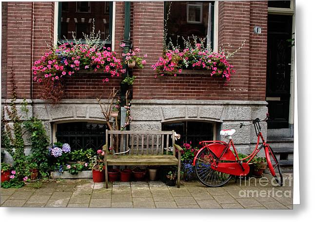 Thomas Marchessault Greeting Cards - Window box bicycle and bench Greeting Card by Thomas Marchessault