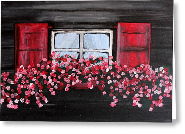 Window Box Greeting Card by Vicki Kennedy