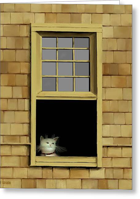 Kitten Prints Pastels Greeting Cards - Window Cat    No. 2 Greeting Card by Diane Strain